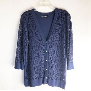 New York & Co. Navy Lace Front V Neck Cardigan M